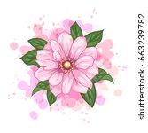 vector flower watercolor...   Shutterstock .eps vector #663239782