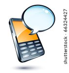 mobile phone and speech bubble | Shutterstock .eps vector #66324427