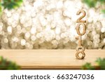 happy new year 2018 on wood... | Shutterstock . vector #663247036