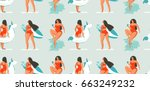 hand drawn vector abstract fun... | Shutterstock .eps vector #663249232