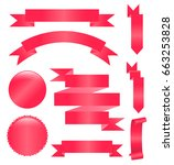 ribbon vector icon set red... | Shutterstock .eps vector #663253828