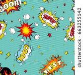 seamless pattern cartoon comic... | Shutterstock .eps vector #663255142