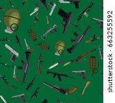 military gun seamless pattern ... | Shutterstock .eps vector #663255592
