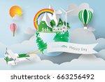 paper art of world environment... | Shutterstock .eps vector #663256492
