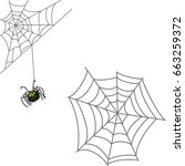 spider and web. halloween icon... | Shutterstock .eps vector #663259372