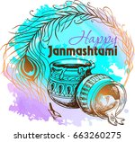 happy janmashtami. indian fest. ... | Shutterstock .eps vector #663260275