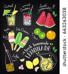 set of hand drawn stickers and... | Shutterstock .eps vector #663263038