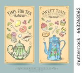 cards of pastries and tea.... | Shutterstock .eps vector #663263062