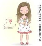 hand drawn beautiful  cute... | Shutterstock .eps vector #663274282