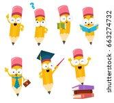 cute cartoon pencil character... | Shutterstock .eps vector #663274732