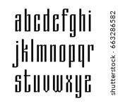 narrow sans serif font based on ... | Shutterstock .eps vector #663286582