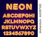 neon font text. neon font eps.... | Shutterstock .eps vector #663287182