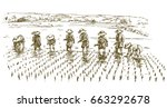 asian farmers working in the...   Shutterstock .eps vector #663292678
