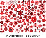100 flowers  red and black over ... | Shutterstock . vector #66330094