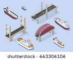 cruise boat and naval ships... | Shutterstock .eps vector #663306106