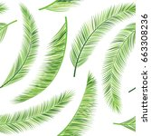 vector palm leaves pattern ... | Shutterstock .eps vector #663308236