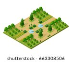 isometric 3d trees forest... | Shutterstock .eps vector #663308506