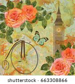 london vintage card. | Shutterstock . vector #663308866