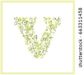 v letter floral logo.vector... | Shutterstock .eps vector #663311458