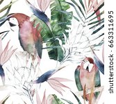 tropical seamless pattern with... | Shutterstock . vector #663311695