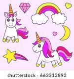 set of unicorn magic element.  | Shutterstock .eps vector #663312892