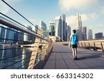 young man exercise walking... | Shutterstock . vector #663314302
