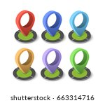 isometric pin icon on the... | Shutterstock .eps vector #663314716