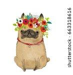 cartoon pug with floral wreath | Shutterstock . vector #663318616
