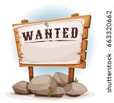 wood sign with wanted on torn... | Shutterstock .eps vector #663320662