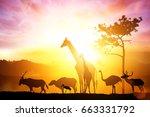 silhouette of animal on sunset | Shutterstock . vector #663331792