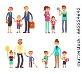 kids and parents in happy... | Shutterstock .eps vector #663334642