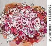 cartoon cute doodles hand drawn ... | Shutterstock .eps vector #663335092