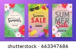summer sale background layout... | Shutterstock .eps vector #663347686