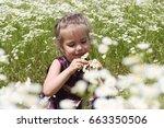cute little girl wearing... | Shutterstock . vector #663350506