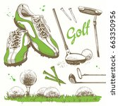 golf set with basket  shoes ... | Shutterstock .eps vector #663350956