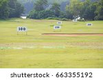 numbers sign in golf course | Shutterstock . vector #663355192
