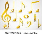 Various Musical Notes In Gold