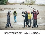 behind the scene. film crew... | Shutterstock . vector #663360562