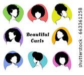 set of stylized women's busts... | Shutterstock .eps vector #663361258