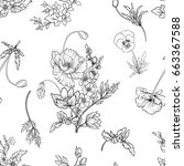seamless pattern with poppy... | Shutterstock .eps vector #663367588