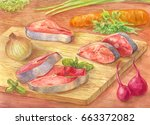still life with watercolor. cut ... | Shutterstock . vector #663372082