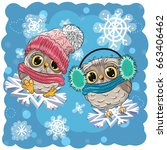 Two Cute Owls Are Flying On Th...