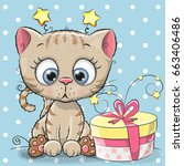 greeting card cute kitten with... | Shutterstock . vector #663406486