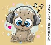 cute cartoon teddy bear with... | Shutterstock . vector #663406522