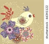 Stylized Fabric Retro Bird  ...