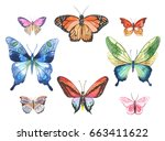 Stock vector vector illustration of watercolor butterflies isolated on white background 663411622