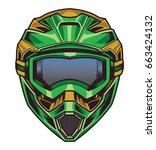 motocross helmet   Shutterstock .eps vector #663424132