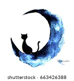 Stock photo hand drawn watercolor painting of black cat sitting on the moon 663426388