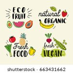 healthy food hand drawn... | Shutterstock .eps vector #663431662