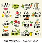 healthy food hand drawn... | Shutterstock .eps vector #663431902